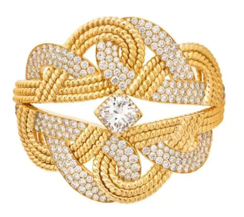 Chanel Golden Braid cuff in gold with diamonds