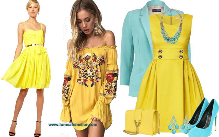 Modele de rochii galbene de seara casual office scurte midi lungi online