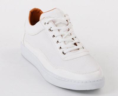 Pantofii barbati Casual albi cu textura cu talpa cusuta