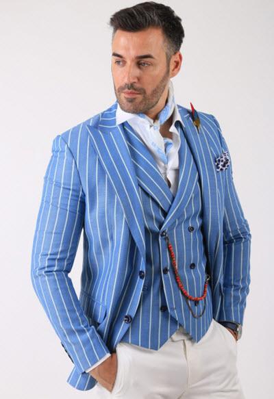 Sacoul barbati bleu cu dungi late cu alb