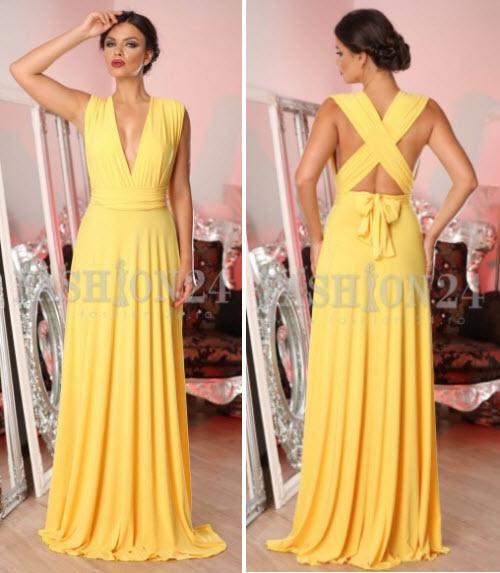 rochii lungi elegante galbene de seara cu funda la spate