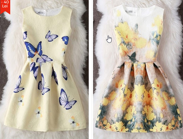 rochii scurte cu imprimeu floral cu galben