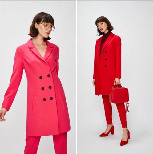 palton gen sacou cu doua randuri de nasturi rosu sau fucsia