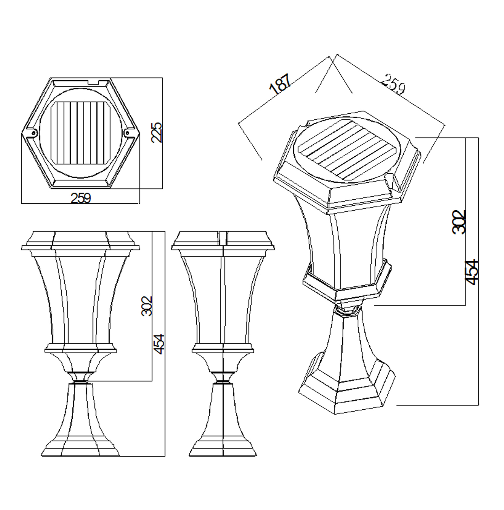 Solamon Pedestal Line Drawing