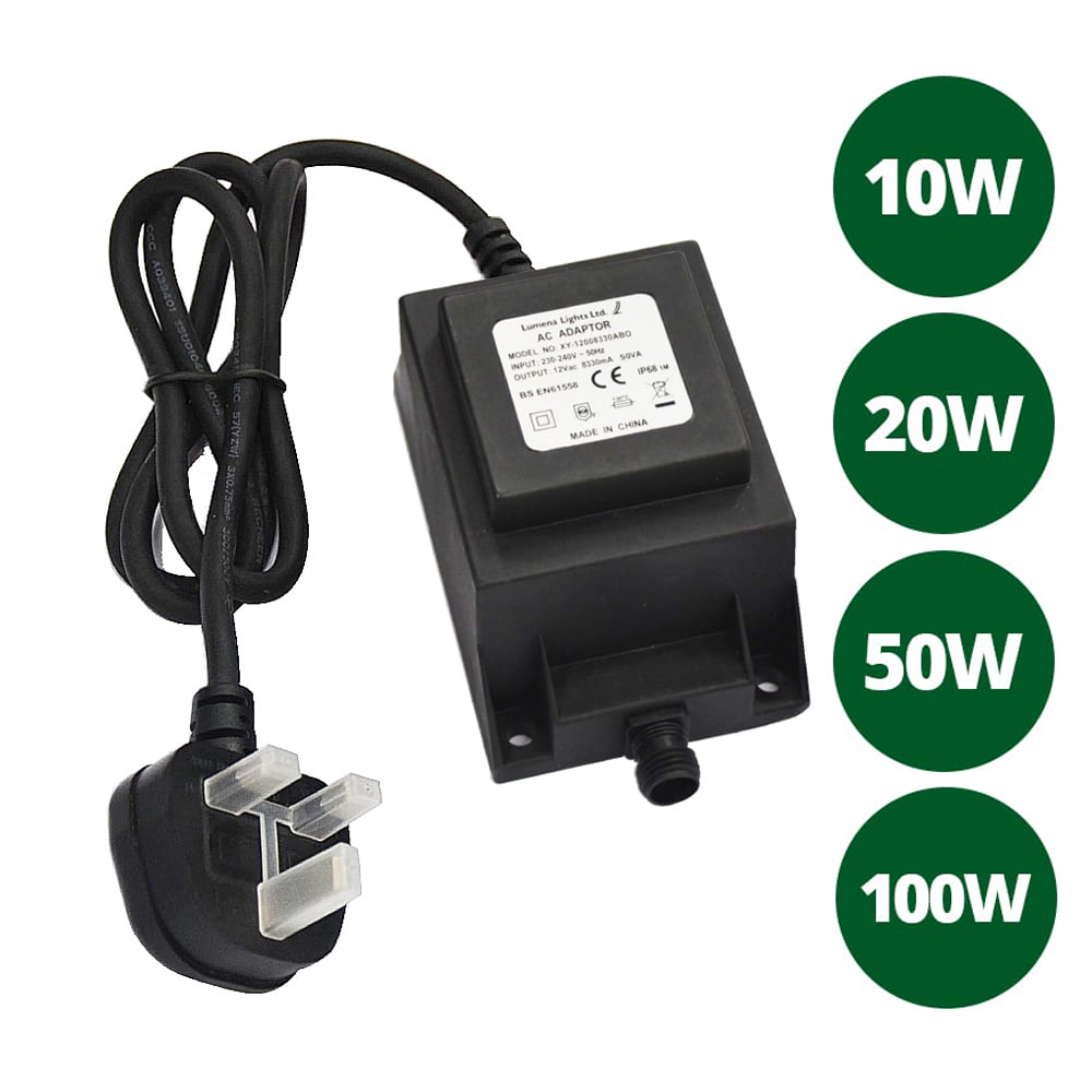 12v waterproof transformer open end cable various wattages