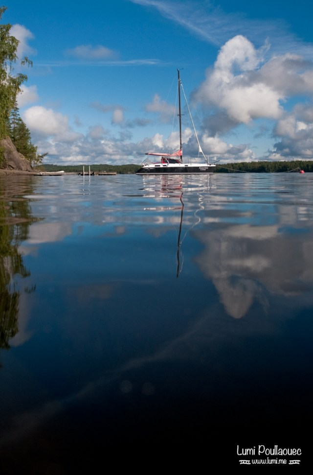 Lac Saimaa - Finlande - catamaran eau reflet bateau