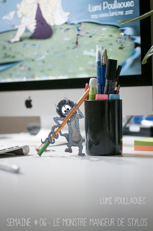 semaine 6 Monstre mangeur de stylos bureau