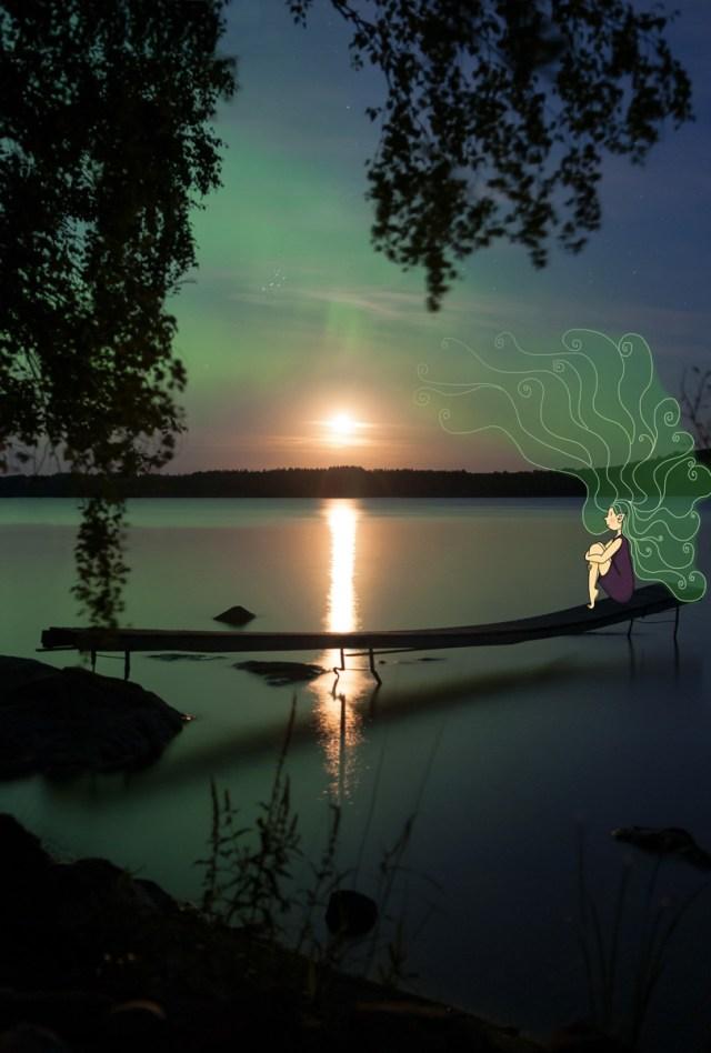 Une borealis, fée créant les aurores boréales dans les pays du nord. © Lumi Poullaouec