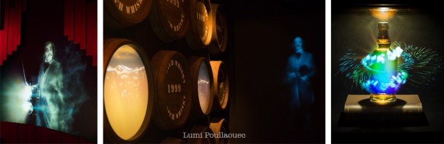 3 photos prises dans le musé hanté Scotch Whisky Expérience à Édimbourg.