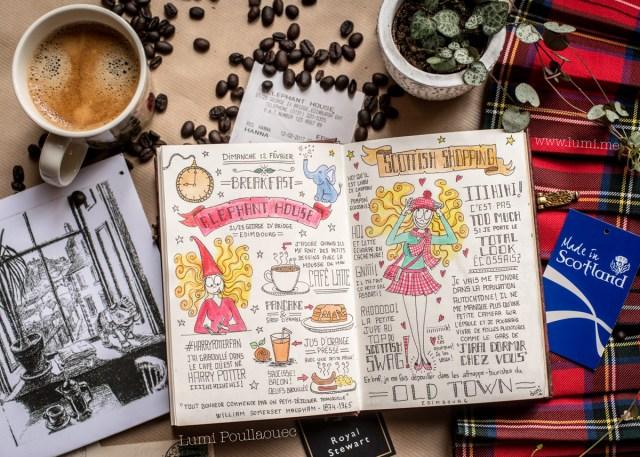Photo de mon carnet de voyage au milieu de souvenirs écossais et une tasse de café.