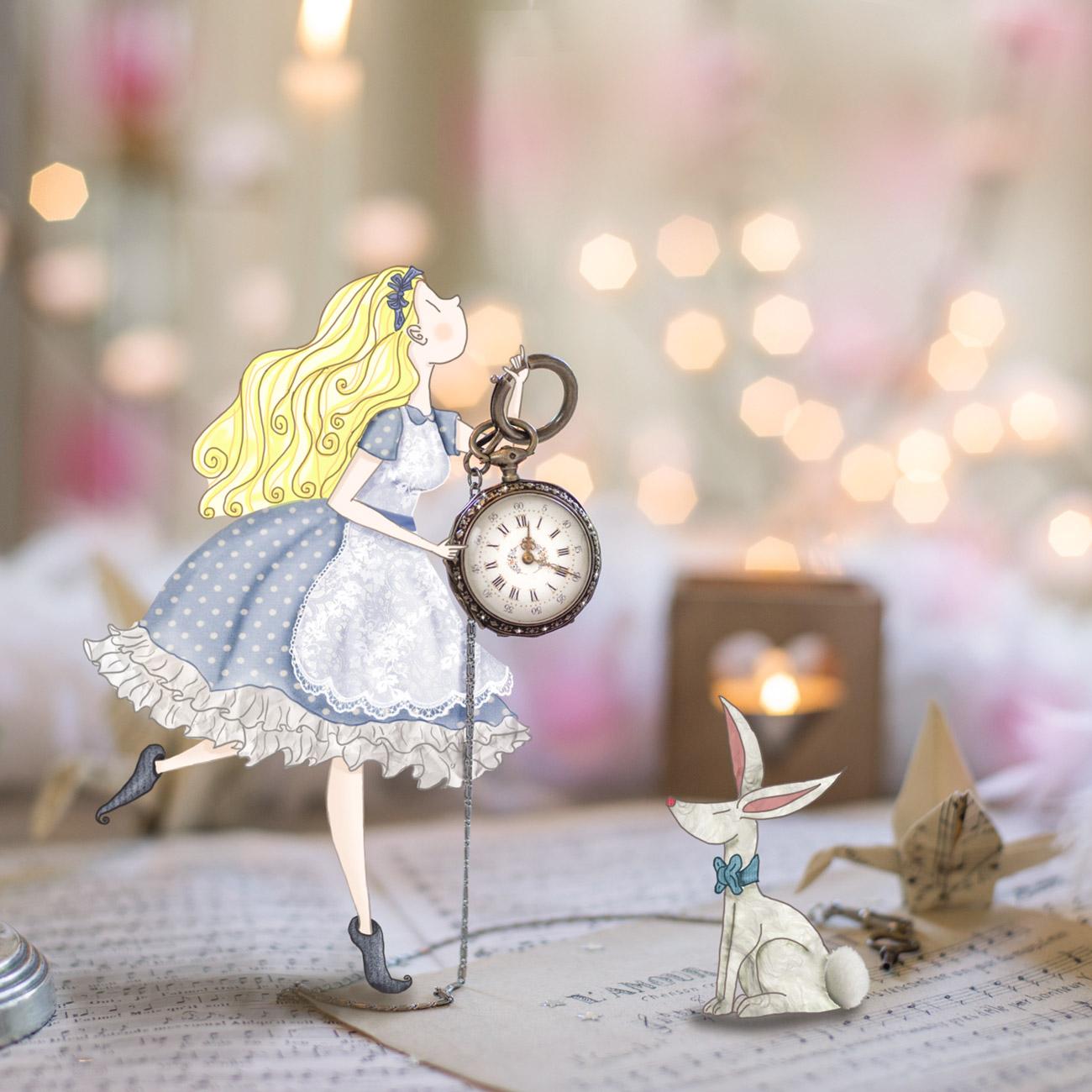 Alice au pays des merveilles avec le lapin blanc- Lumi Poullaouec - Création - Photographie et illustration féérique