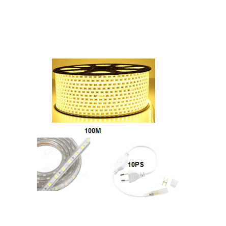 Rouleau tube light (guirlande) 100 mètre +10 fiche couleur jaune