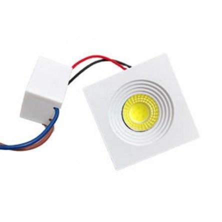 Spot Niche LED Carré Encastrable 3W Lumière Jaune (3000K)