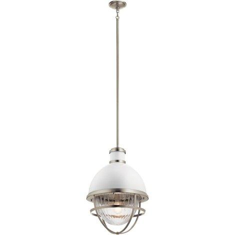 TOLLIS Luminaire suspendu fini nickel brossé avec diffuseur clair côtelé - 16'' Diamètre - 23,75'' Hauteur - 62'' Hauteur max. - A19 1 x 100W
