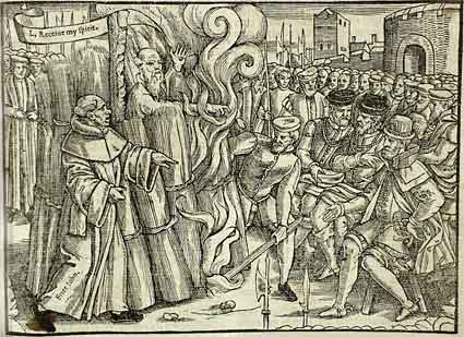The Burning of Thomas Cranmer. Woodcut from Foxe's 'Acts and Monuments'