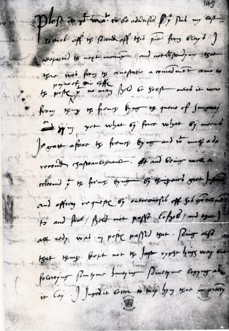 Carta manuscrita de Wyatt a Henry VIII