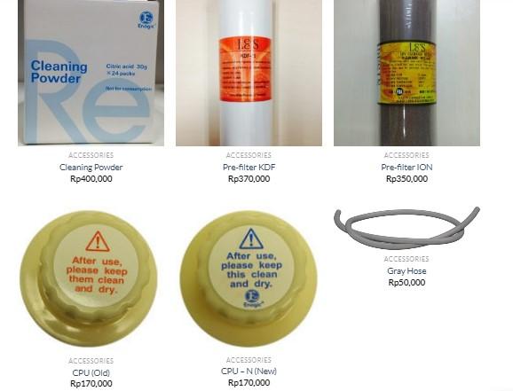 Berbagai macam Accessories Mesin Kangen Water