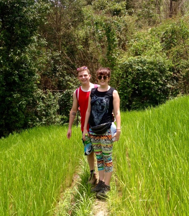 Keeping to the tiny paths through the rice fields.