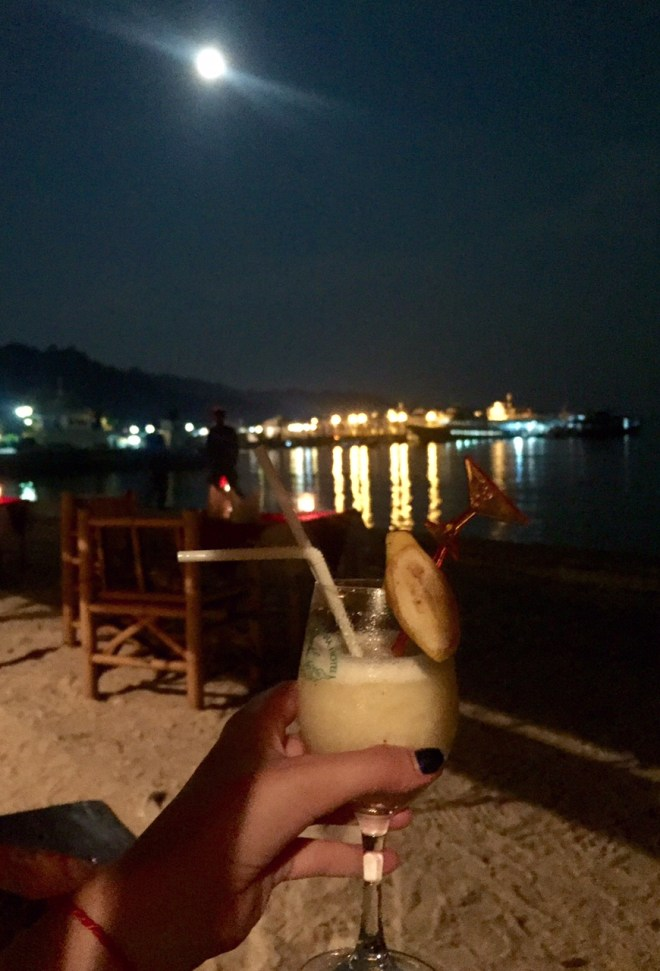 night time beach cocktails