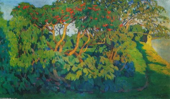 konstantin-yuon-elderberry-bush-decorative-landscape-pskov