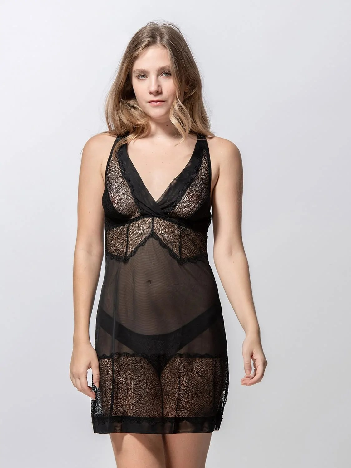 Passion 85004 babydoll black front