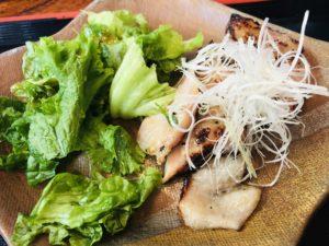 竃 地鶏の炭火焼き御膳 塩麹漬け焼きアップ