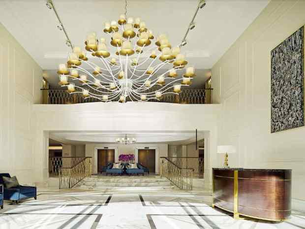 Another marked difference between a hotel and Airbnb, the Langham Sydney's grand foyer.