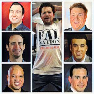 Clockwise from left, SiriusXM's Tom Byrne, Bleacher Report's Howard Beck, ESPN's Freddie Coleman, ESPN's Jorge Sedano, SiriusXM's Evan Cohen, ESPN's Jon 'Boog' Sciambi and SiriusXM's Mike Babchik (center).