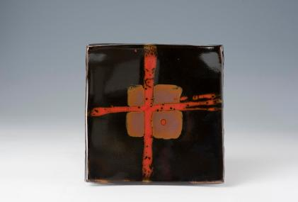 Square Plate 35 cm. Tenmoku with Copper Red Cross