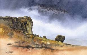 Watercolour: Cow and Calf rocks near Ilkley