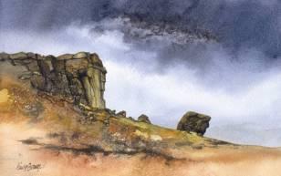Watercolour: Cow and Calf rocks near Ilkley