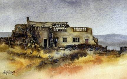 Watercolour: Derelict building in Calderdale