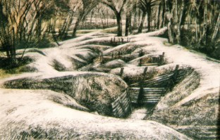 Sanctuary Wood. Charcoal on watercolour
