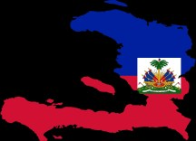 flag map of haiti country