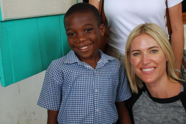 Kristen Taekman shares a smile with a Smile Train patient at Justinian University Hospital in Cap-Haitien, Haiti.