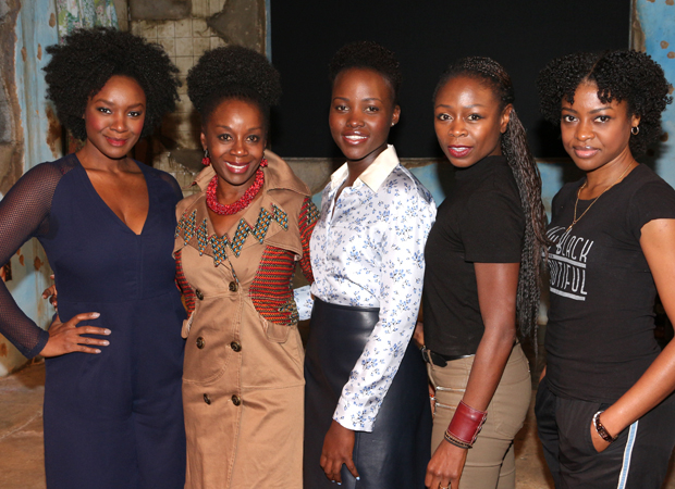 Saycon Sengbloh, Akosua Busia, Lupita Nyong'o, Zainab Jah, and Pascale Armand star in the Broadway production of Eclipsed. (© David Gordon)