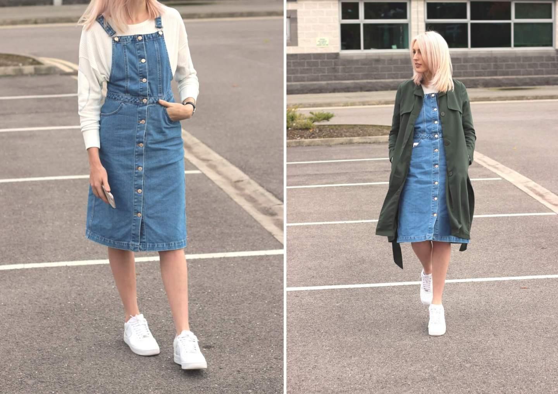9b7de696165c5 How to wear a denim pinafore on high street fashion blog ...