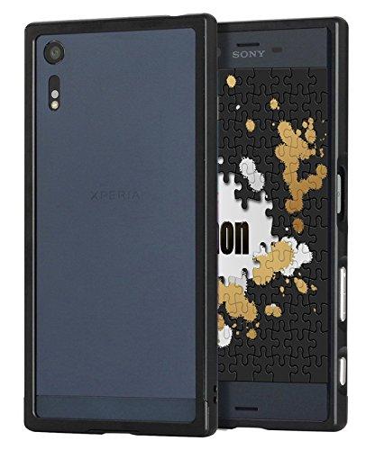 Finon(フィノン)アルミメタルバンパータイプ【アルミ素材/スライド装着式/ボタンスタイル】指紋が付かないフィルム付【Xperia XZs/XZ】専用 ケース カバー カラー:ブラック