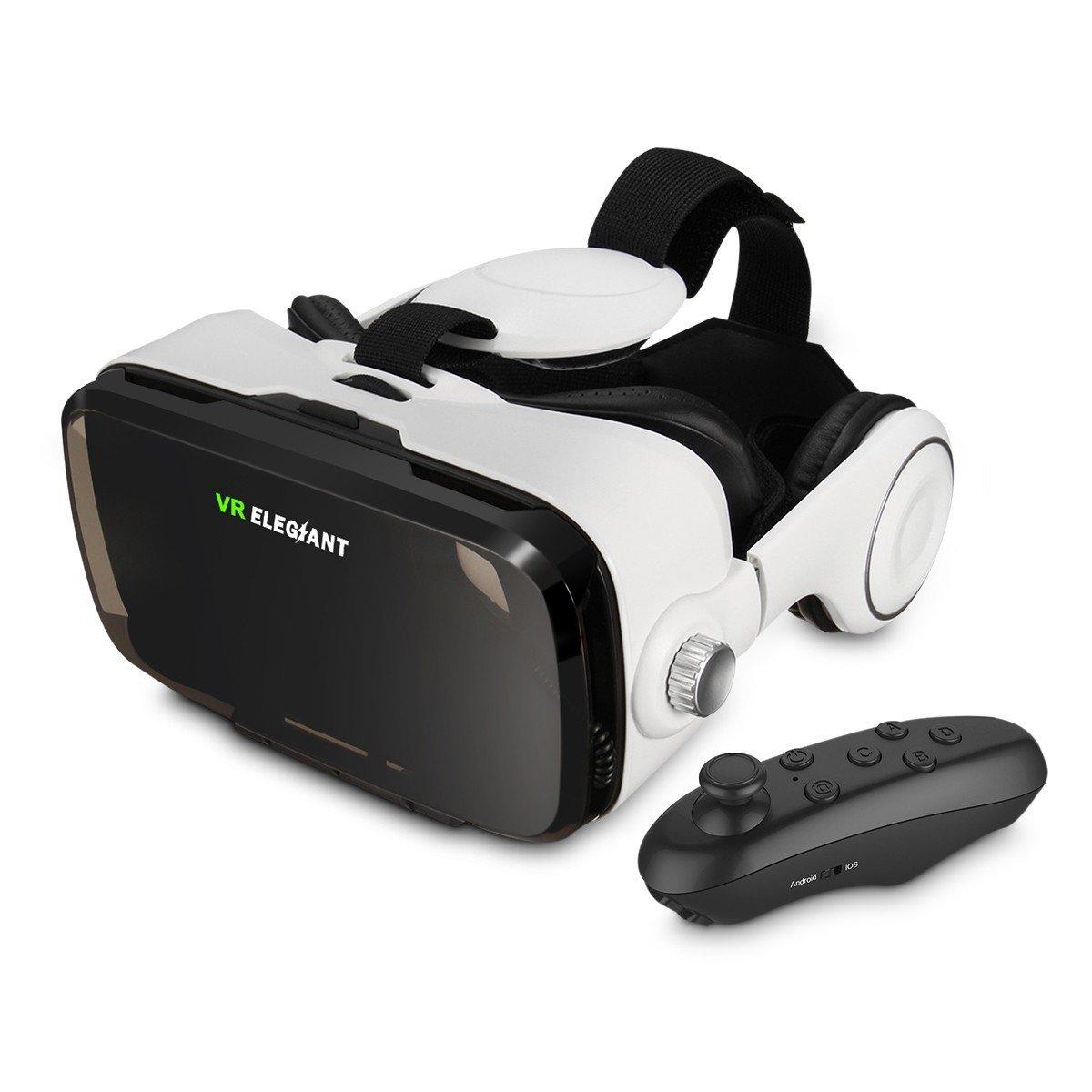 ELEGIANT VR BOX 仮想現実メガネVRコントローラ ブルートゥース携帯リモコン ゲームコントローラー AndroidとiOSのスマートフォンをサポート(4-6インチ) (Bluetoothコントローラ リモコン付き)