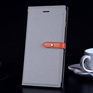 B&B 【2017年新作】 iPhone7ケース 手帳型ケース おしゃれ 人気 iPhone7 カバー 耐衝撃 耐汚れ 防水 スマホケース ストライプ付き 財布型 カード収納 マグネット式 スタンド機能 アイフォンケース 全面保護 (iPhone7, ベージュ)