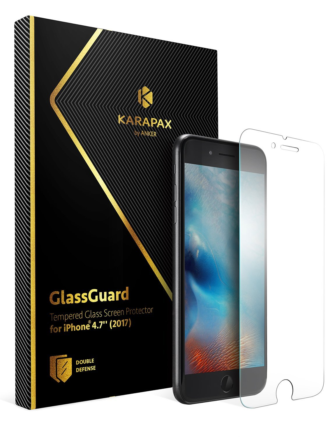 Anker KARAPAX GlassGuard iPhone 8用 強化ガラス液晶保護フィルム【3D Touch対応 / 硬度9H / 飛散防止】