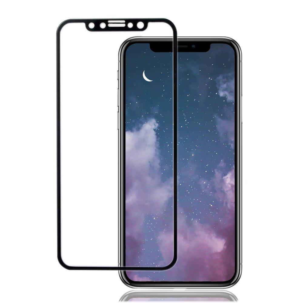iPhone X ガラスフィルム, MY-LIVE 炭素繊維 全面保護 iPhoneX フィルム 9H 耐衝撃 0.15mm 高透過率 【新設計】