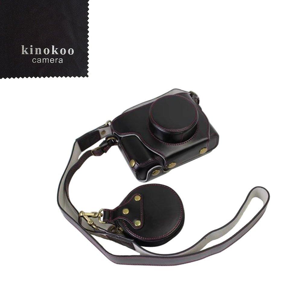 kinokoo 富士フイルム FUJIFILM X100F専用カメラケース カメラバッグ バッテリーの交換でき 三脚ネジ穴付き PUレザー 全面保護型 ショルダーストラップ付き 標識クロス付き (ブラック)