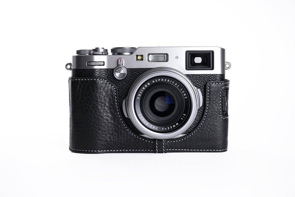 TP Original FUJIFILM X100F 専用 オープナブルタイプ 本革 ボディケース 黒色(底面開閉)