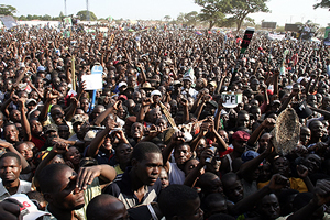 Part of the crowd during Mr Sata's last rally at Woodlands stadium
