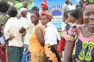 Women waiting to get tested at mobile VCT site in rural Zambia