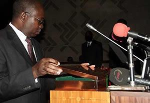 Mr Musokotwane preparing the budget speech