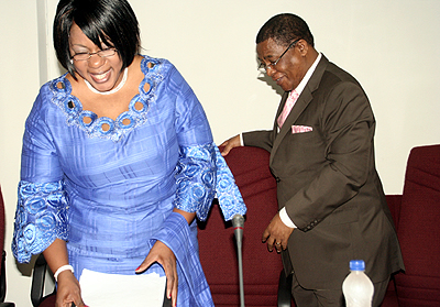 Energy deputy minister Gladys Lumbwe and Comesa seretary general Sindiso Ngwenya after giving a speech at the COMESA energy meeting in Lusaka