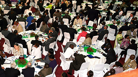 An aerial view of delegates inside the Mulungushi international conference centre during the national indaba