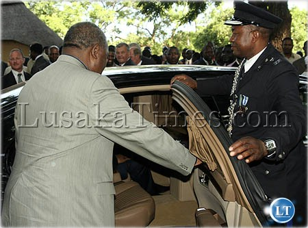 President Banda about to board his new Mercedes Benz limo before driving back to Lusaka from Mazabuka